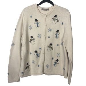 Croft & barrow button up snowman sweater